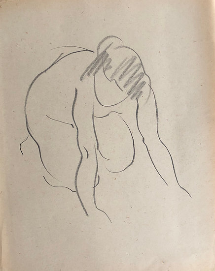 "Cesar Bolletti - Original Vintage Drawing, c.1940 - ""Female Nude Sketch"" #28"