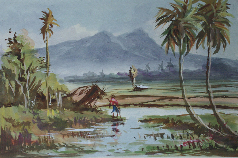 "Original Vintage Watercolor - ""South east Asia, Landscape"""