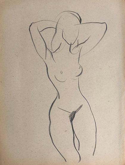 """Cesar Bolletti - Dessin Original, c. 1940 - """"Étude de Nu Féminin"""" #31"""