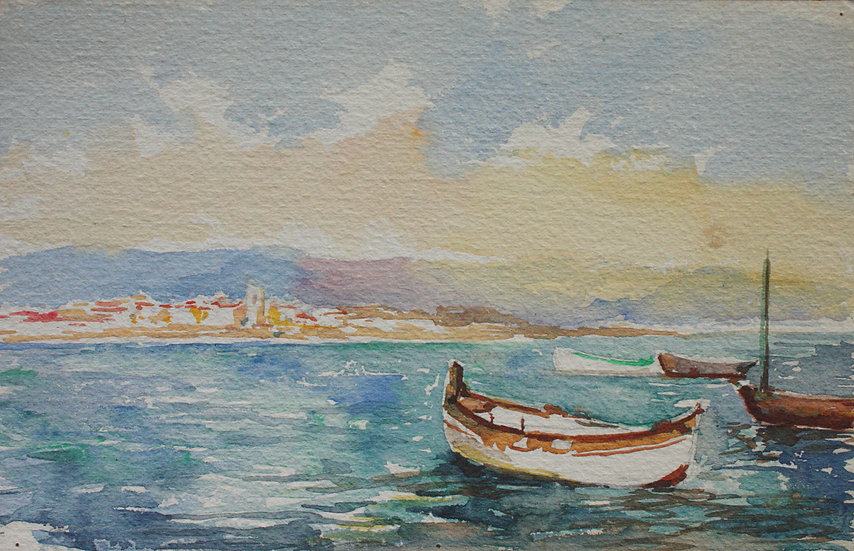 "Monique Perrot - Aquarelle originale - ""Vue d'Antibes"" Côte d'Azur #2"