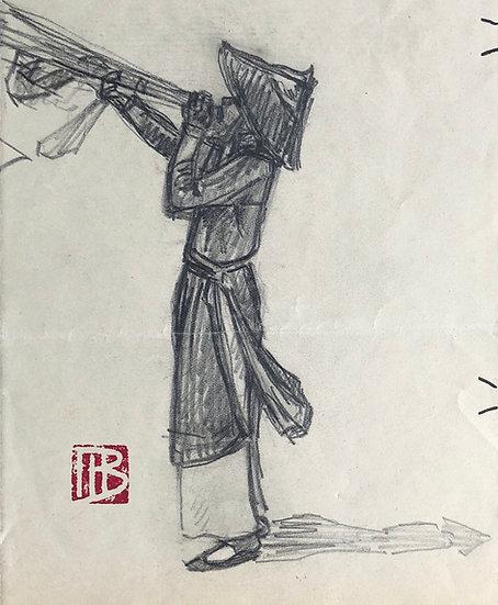 "Marcel Bernanose - Dessin Original - ""Le Musicien"" - Indochine / Vietnam #5"