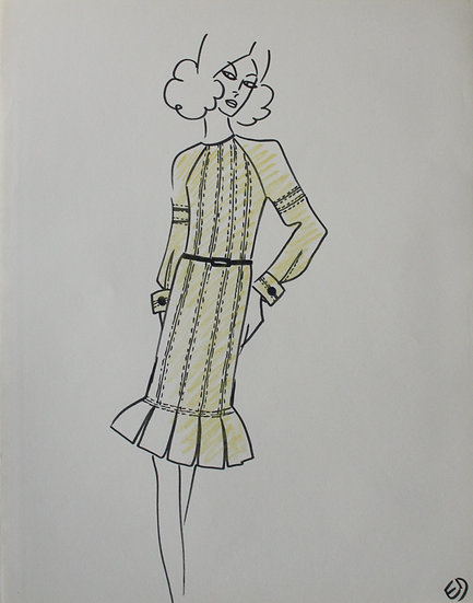Jean Eden - Dessin original, c.1970 - Croquis Mode Femme Robe #9