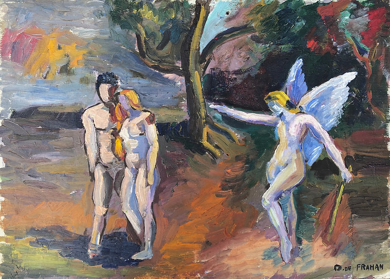 "D. DE FRAHAN - Vintage Oil Painting - 1946 - ""Expulsion of Adam and Eve from paradise"""
