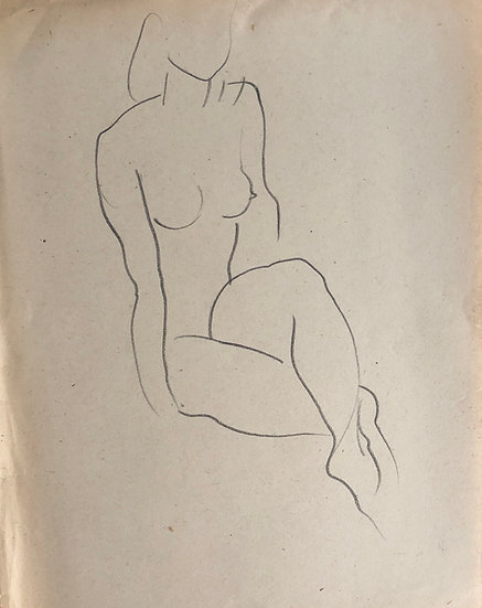 "Cesar Bolletti - Original Vintage Drawing, c.1940 - ""Female Nude Sketch"" #36"