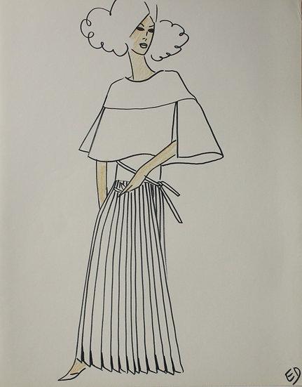 Jean Eden - Dessin original, c.1970 - Croquis Mode Femme Robe #30