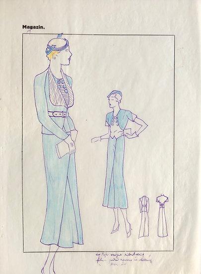 """Dessin Original, Années 1950 - """"Croquis de Mode"""" #6"""