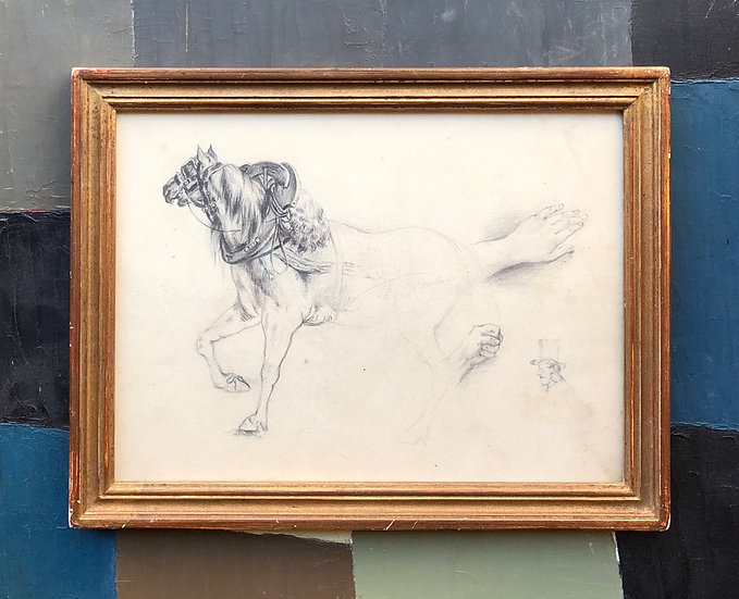 """""""Studies of Horse, Hands and Man"""" - Antique 19thC Drawing"""