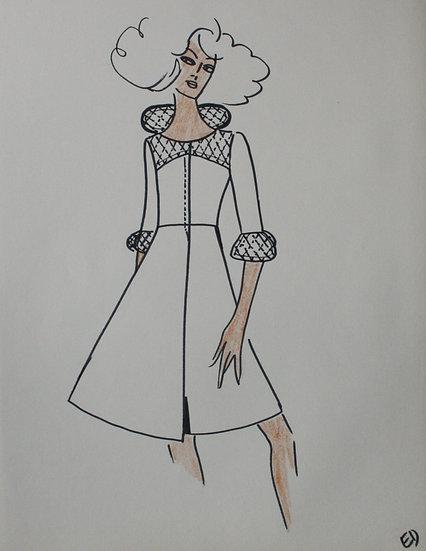 Jean Eden - Dessin original, c.1970 - Croquis Mode Femme Robe #4