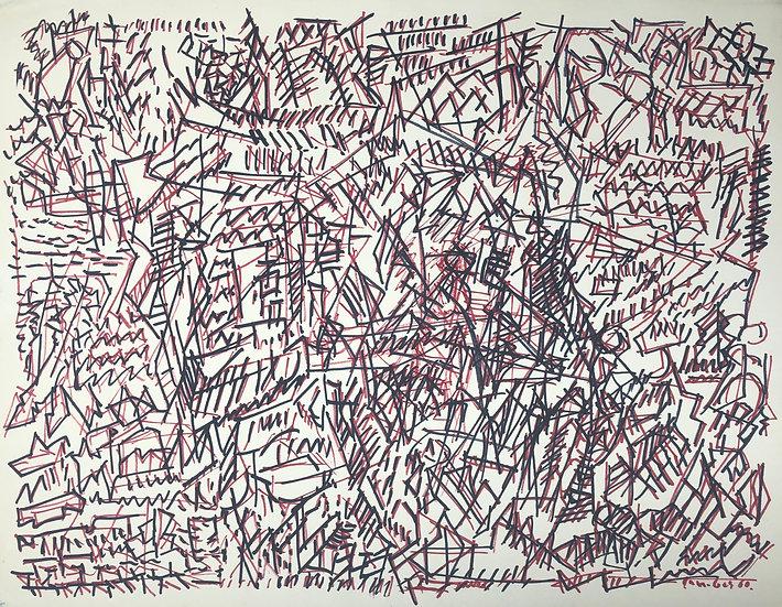 """David Lan-Bar (1912-1987) - """"Abstraction"""" - Grand Dessin #5"""