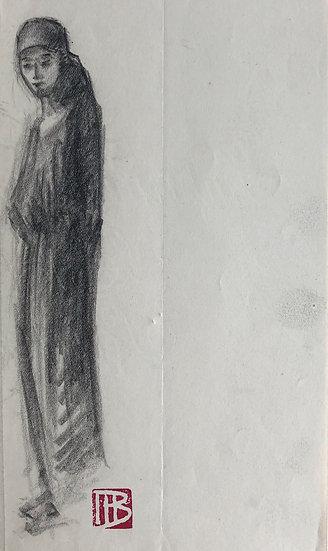 "Marcel Bernanose - Dessin - ""Étude de Femme au voile"" - Indochine / Vietnam #8"