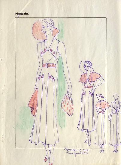 "Original Drawing, 1950s - ""Fashion Sketch"" #5"
