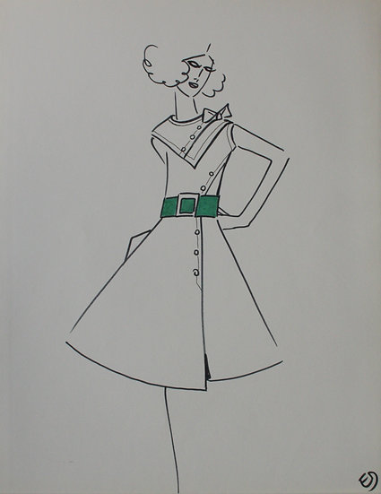 Jean Eden - Dessin original, c.1970 - Croquis Mode Femme Robe #10