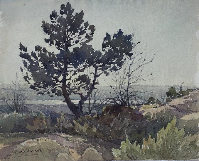 """ERNEST DESIGNOLLE (1850-1941) - """"Country Landscape"""" - Original Antique Watercolor c.1890 19thC"""