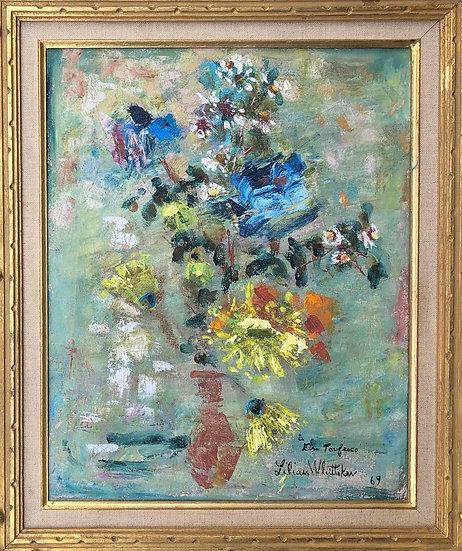 """Lilian Whitteker (1895-1978) - """"Bouquet de Fleurs"""" - Huile sur toile"""