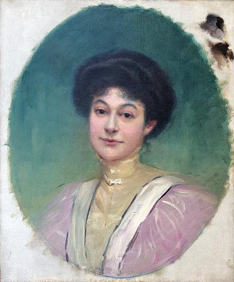 """""""Portrait of Woman"""" - Antique painting, c.1900"""