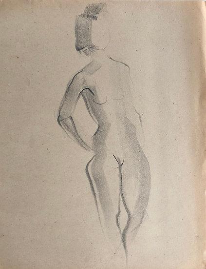 "Cesar Bolletti - Original Vintage Drawing, c.1940 - ""Female Nude Sketch"" #26"