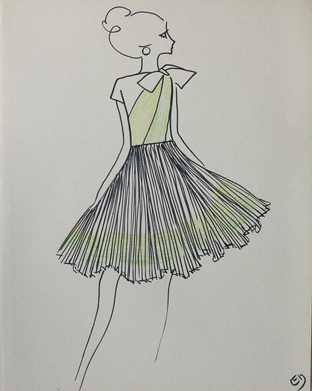 "Jean Eden - Original Vintage Drawing, c.1970 - ""Fashion Sketch"" #13"