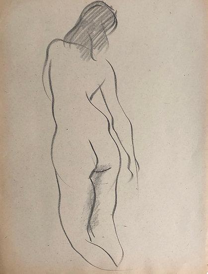 """Cesar Bolletti - Dessin Original, c. 1940 - """"Étude de Nu Féminin"""" #30"""