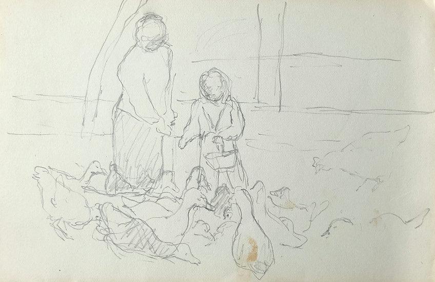 François Lanos - Original Vintage Drawing - 1950s #18