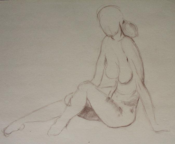"""Large Vintage Drawing, c.1950 - """"Female Nude Sketch"""" #8"""