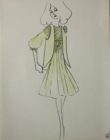 "Jean Eden - Original Vintage Drawing, c.1970 - ""Fashion Sketch"" #20"