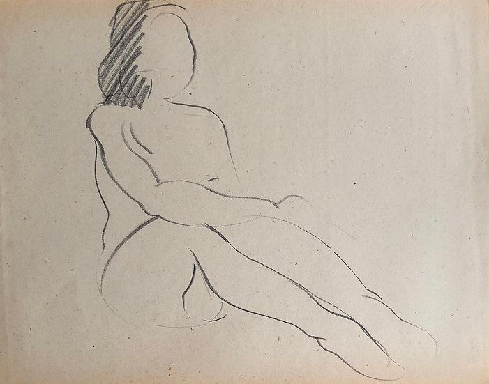 "Cesar Bolletti - Original Vintage Drawing, c.1940 - ""Female Nude Sketch"" #40"