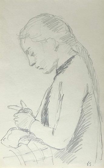 François Lanos - Original Vintage Drawing - 1965 #6