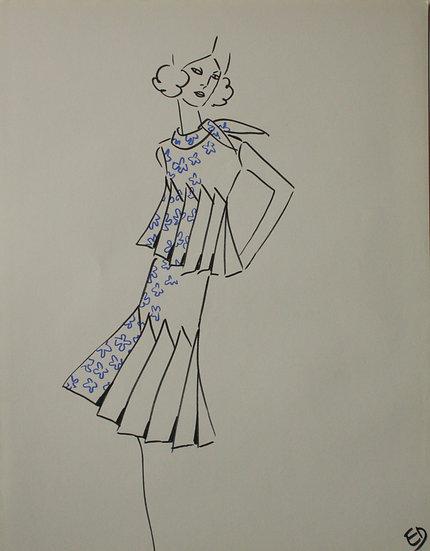 "Jean Eden - Original Vintage Drawing, c.1970 - ""Fashion Sketch"" #22"
