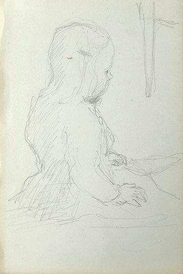 François Lanos - Original Vintage Drawing - 1950's #21