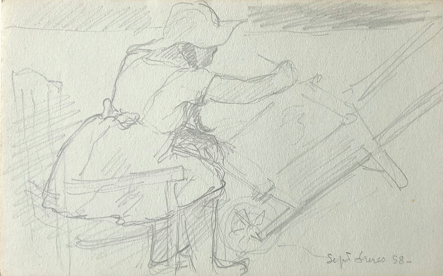 François Lanos - Original Vintage Drawing - 1958 #10
