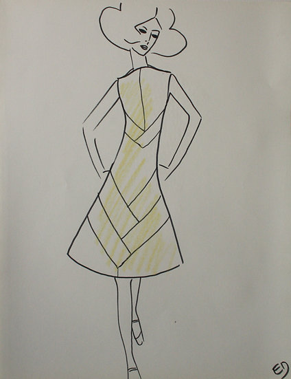 "Jean Eden - Original Vintage Drawing, c.1970 - ""Fashion Sketch"" #15"