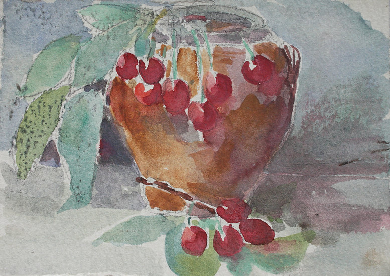 "Monique Perrot - Original Watercolor - Double-side ""Still Life with Cherries / River Landscape"""