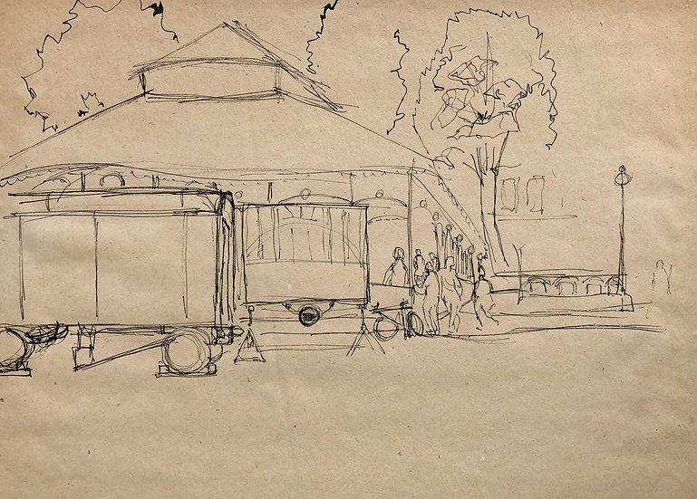 """At the fair"" - Original Vintage Drawing - 1950s"