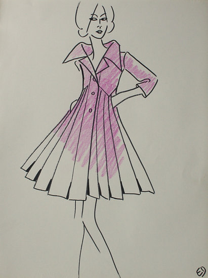 Jean Eden - Dessin original, c.1970 - Croquis Mode Femme Robe #34