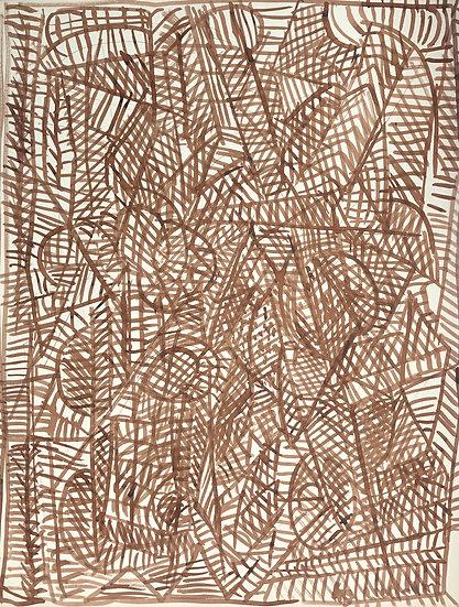 """David Lan-Bar (1912-1987) - """"Abstraction"""" - Grand Dessin #6"""