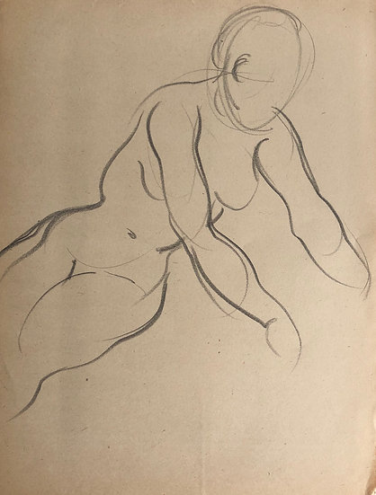 "Cesar Bolletti - Original Vintage Drawing, c.1940 - ""Female Nude Sketch"" #3"
