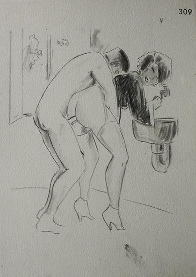 "Ludwig BOCK (1886-1971) - ""Scène érotique"" - Dessin Original #5"