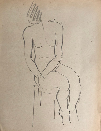 "Cesar Bolletti - Original Vintage Drawing, c.1940 - ""Female Nude Sketch"" #27"