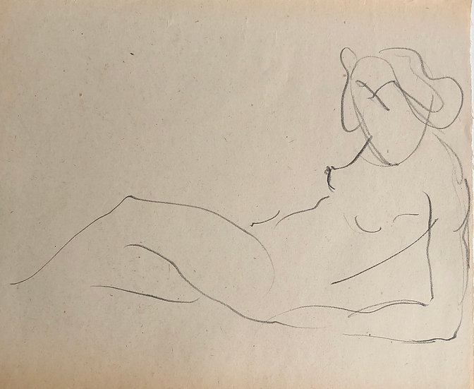 "Cesar Bolletti - Original Vintage Drawing, c.1940 - ""Female Nude Sketch"" #47"