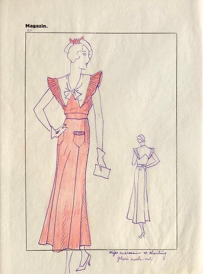"""Dessin Original, Années 1950 - """"Croquis de Mode"""" #7"""