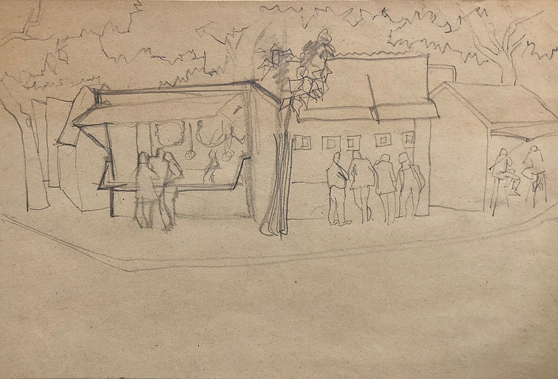 """""""Genre Scene"""" - Original Vintage Drawing - 1950s"""