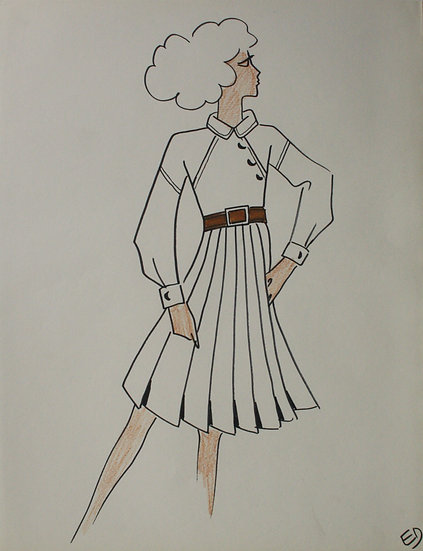 "Jean Eden - Original Vintage Drawing, c.1970 - ""Fashion Sketch"" #32"