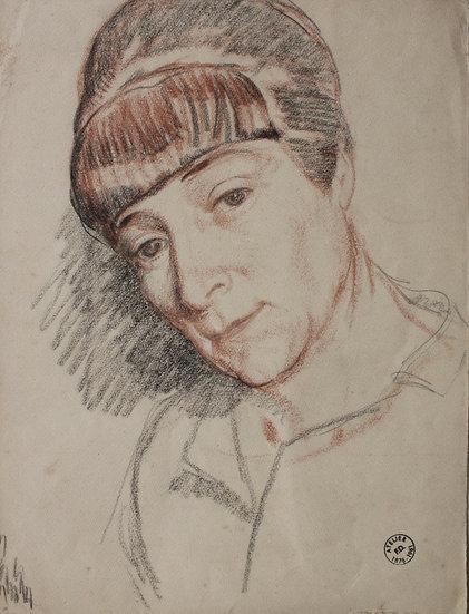 """Fernand DUROZÉ (1876-1961) - Dessin ancien c.1900 - """"Portrait de femme"""