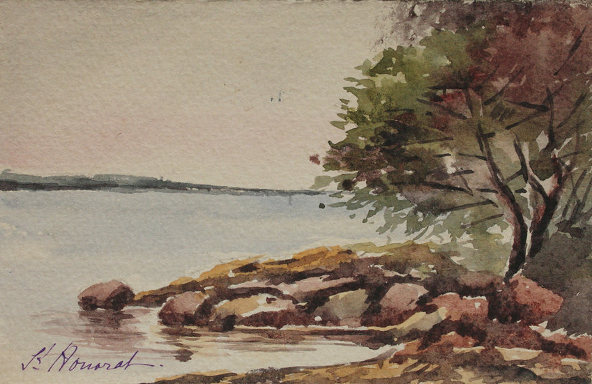 "Monique Perrot - Original Watercolor - ""View of the Île Saint-Honorat"" Cannes French Riviera #12"