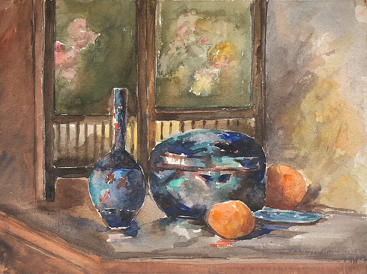 "Monique Perrot - Double-sided Watercolor - ""Still Life"" #28"