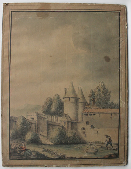 """Large Antique Drawing / Watercolor - 18th century - """"Fisherman in a Landscape"""""""