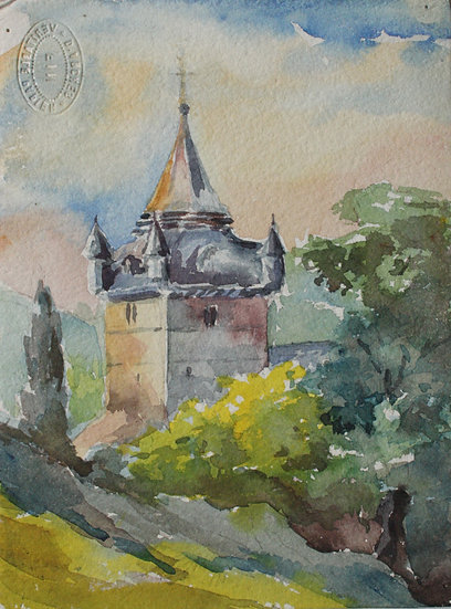 "Monique Perrot - Original Watercolor - ""French Landscape : Beaudaan Church"" Hautes-Pyrenees"