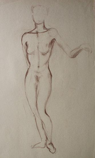 """""""Étude de Nu féminin / Femme nue"""", c.1950 - Grand Dessin au Pastel #12"""