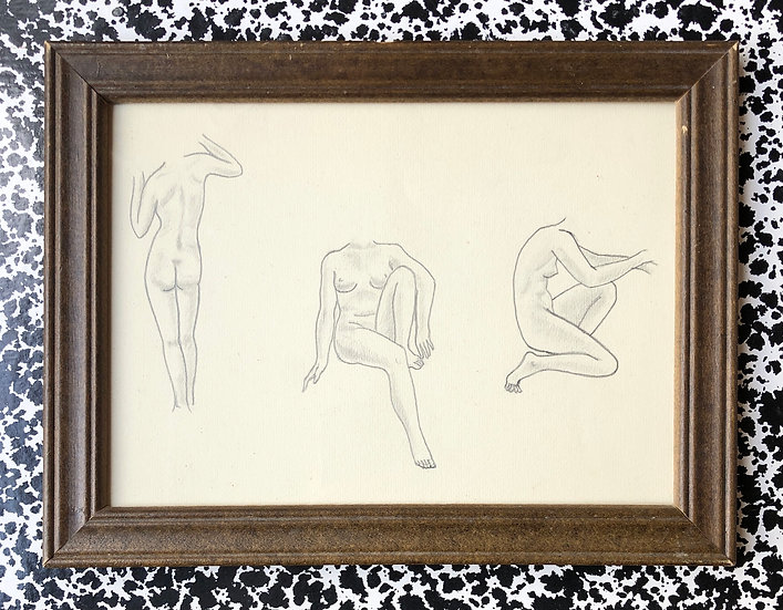 """Nude Studies"" - Original Drawing, Art Deco"