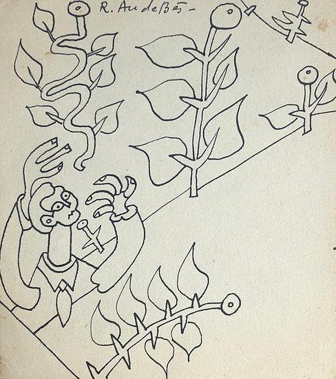 RENÉ AUDEBÈS (1922-1993) - Dessin Ancien c.1950 #16